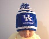 Custom handmade knit Kentucky University baby Hat 0-12M-cute gift photos