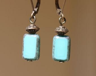 Blue Turquoise Earrings Glass earrings Dangle Czech earrings Boho Chic Earrings Blue Jewelry Lightweight earrings  Gift ideas