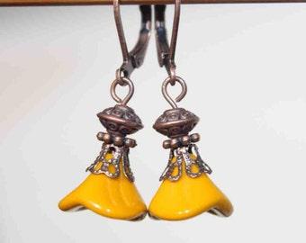 Yellow Mustard Earrings Flower Earrings Jewelry Dangle earrings Drop Earrings Copper Earrings Czech Glass Earrings Gift For her Gift  ideas