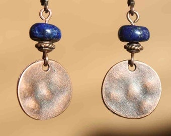 Copper Earrings Dangle Drop Earrings Lapis Lazuli Earrings Navy blue Earrings Boho Earrings Small Earrings Gift for women Gift For Her