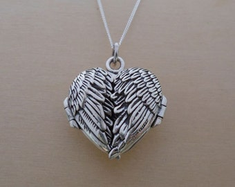 "925 Sterling Silver HEART Locket Angel Wings Pendant on 16"", 18"" or 20"" Sterling Silver Curb Chain"
