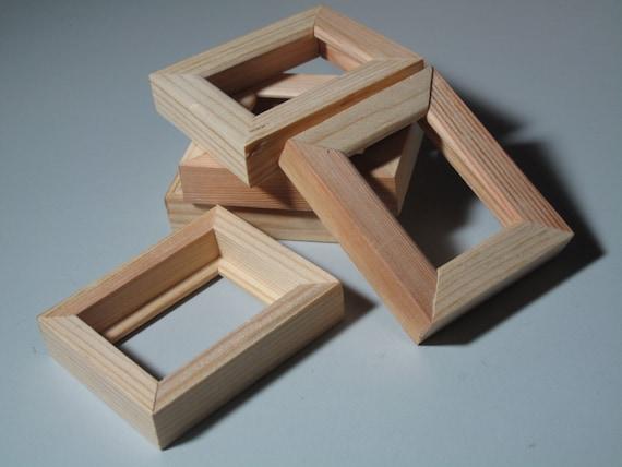 Five tiny wood frames natural unfinished pine arts crafts for Unfinished wood frames for crafts