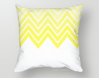 18 x 18 Pillow Cover - One Pillow Cover with insert - Accent Pillow - Decorative Pillow - Throw Pillow Cover Case Yellow Chevron