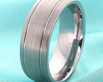 Mens Tungsten WeddingRing,Tungsten Wedding Band,Tungsten Anniversary Ring,Tungsten Couple Ring,8mm,Dome Shaped, Brushed,FREE Laser Engraving