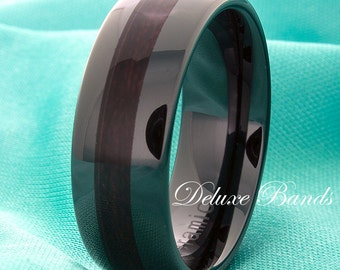 Black Ceramic Wedding Band,Wood Inlay,Black Ring,Mens Black Band,Dome,8mm,Anniversary Ring,Promise Ring,Free Laser Engarving,Comfort Fit