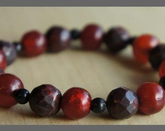 Red and Maroon Beaded Bracelet