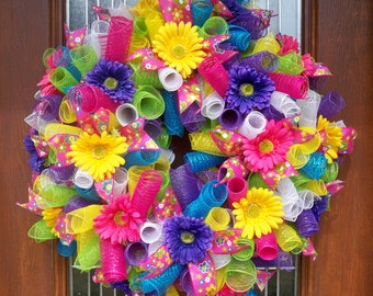 Curly Mesh Summer Wreath