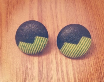Fabric Covered Button Earrings - Green Kente Cloth (Studs, Accessories)