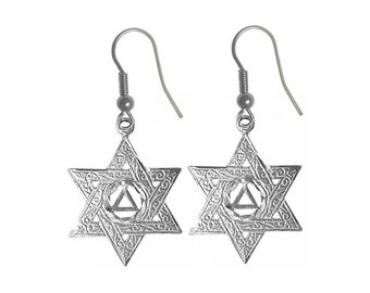 Style #716-6, Sterling Silver Earrings, AA Symbol in a Jewish Star of David