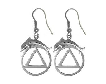 Style #718-6, Sterling Silver Earrings, AA Symbol with a Dolphin