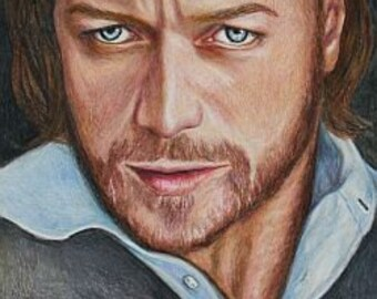 Charles Xavier / James McAvoy Print of colored pencil drawing