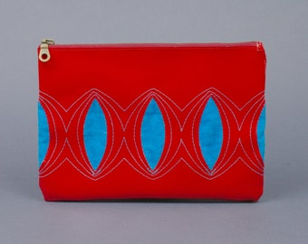 casual clutch in tarp and cord (red-turquoise)