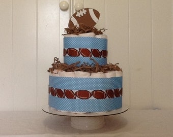 Football Diaper cake Baby Boy Baby shower Gift/Decoration Centerpiece blue and white polka dots