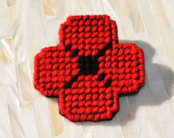 Red Remembrance Plastic Canvas Poppy Pin