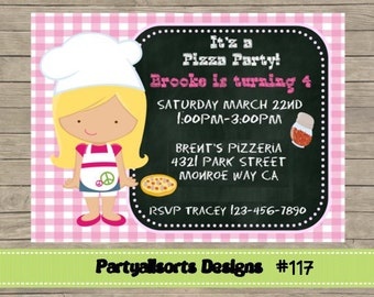 117 DIY - Girls Pizza Party Invitations Card