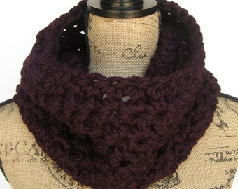 Crochet Cowl Scarf, Extra Chunky Infinity Scarf, Women's gift idea