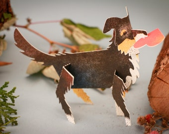 Charming Dog, 3D Paper Animal Greeting Card/Sculpture