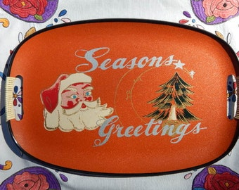 Vintage Seasons Greetings Santa tray