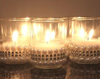 12 Wedding Votive Pearled Bottom Rim Candle Holder