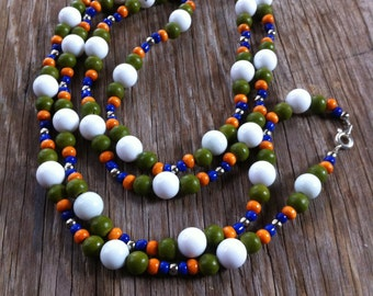 Revival - White, Green, Orange and Blue Beaded Necklace