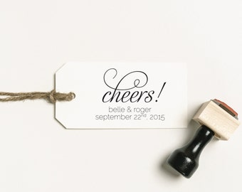 Cheers! Stamp, Cheers Favors Stamp, Wedding Favor Stamp, Personalized Stamp, Drink Favor Rubber Stamp, DIY Stamp  (SFAVS121 - S.1)
