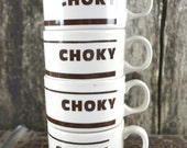 Set of 4 Retro French Kitchen Bistro Vintage Ceramic Choky Hot Chocolate Coffee Cups