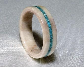Deer Antler Ring, Turquoise inlay, Fine Selected Deer Antler