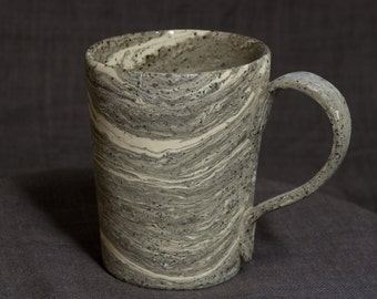 Handbuilted Black&White Marbled Stoneware Cup