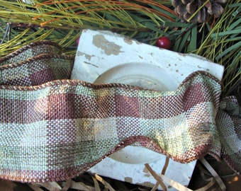 Rustic Brown Natural and Sage Plaid Woven Ribbon