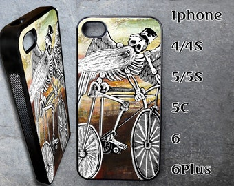 Skeleton on Bike Case for iPhone Choose Your Case Size