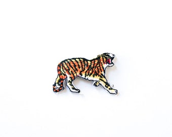 80's SNARLING TIGER Embroidered Iron-On Patch Vintage Deadstock