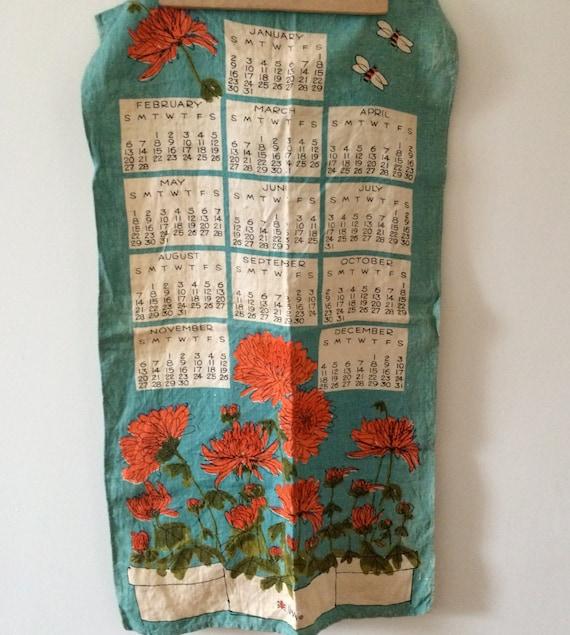 vintage vera neumann linen calendar tea cloth 1966