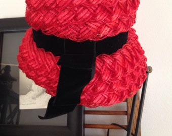 Vintage Red & Black Ladies Hat Union Made