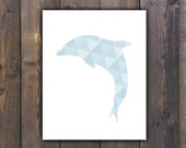 Dolphin Print, Dolphin Art, Dolphin Wall Art, Dolphin Home Decor, Geometric blue Dolphin,Printable Wall Art, Instant Download,