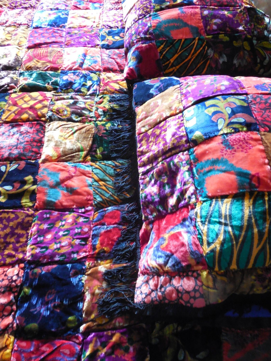 Bohemian Bedding Velvet Pillow Bright Colored Quilt Patchwork