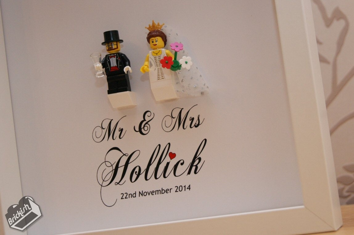Bride And Groom Wedding Gifts: Lego Wedding Gift Bride And Groom Minifigures Framed By