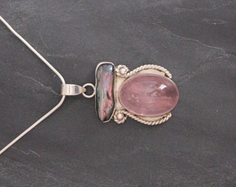Rose Quartz and Mother of Pearl Pendant set in sterling silver