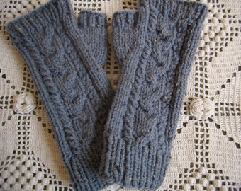 knit mittens cables Fingerless gloves knitted hand Warmers