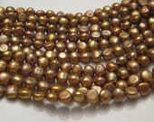 Pearl Gold Mauve Potato Shaped Fresh Water Pearls 7-8 mm 15.5 Inches Long Strand