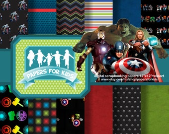 Digital Papers, The Avengers, Ironman, Hulk, Thor, Captain America, Heroe, Background, Birthday, Boys, Clipart
