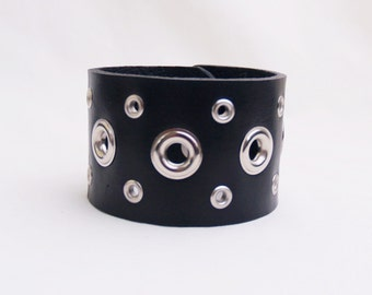Leather Cuff Bracelet, Wristband, Biker, Mens,  Motorcycle Accessory, black