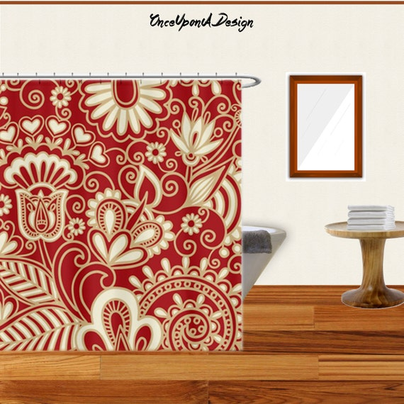 Items similar to cool art shower curtain red gold shower for Red and gold bathroom accessories
