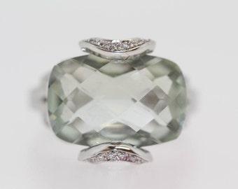 925 Green Amethyst  / White Topaz Ring.