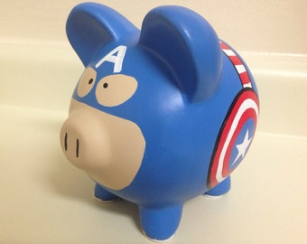 Captain America Painted Ceramic Piggy Bank Medium