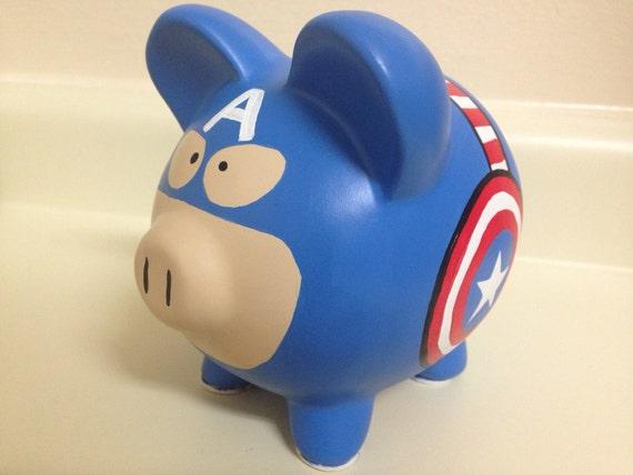 Captain america painted ceramic piggy bank medium for How to paint a ceramic piggy bank