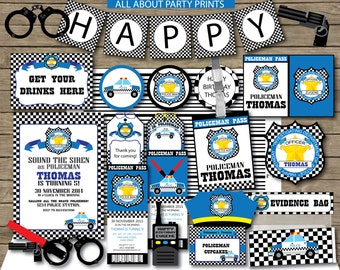 PDF format-Instant Download-Police Theme Party Pack Printables- complete party pack-for personal use only