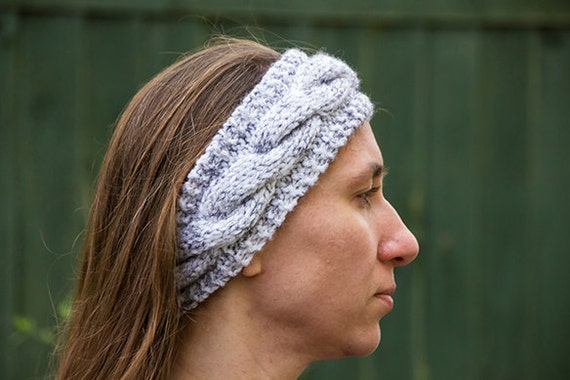 Hand knitted chunky cable headband Ear Warmer Knit Fashion