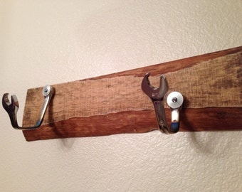 Reclaimed wood and Wrench coat rack hanger