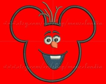 Cute  mouse  Applique Design  3 sizes 4X4, 5X7 and 6X10 Instant Download