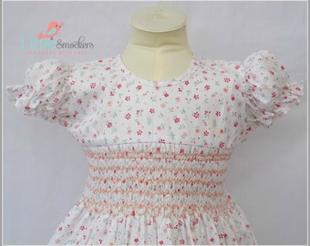 Spring Floral White Hand Smocked Dress